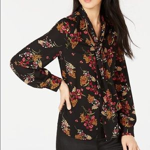 NWT Bar III Floral Tie-Neck Top made for Macy's